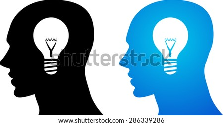 Vector illustration of a black head silhouette with an idea light bulb inside it. Blue color alternative. - stock vector