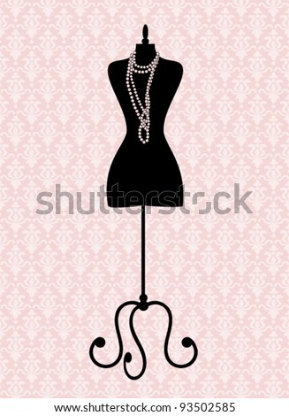 Vector illustration of a black tailor's mannequin. Elements are grouped and layered for easy editing. See similar illustrations in my portfolio. - stock vector