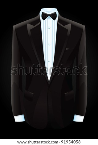Vector illustration of a black tuxedo and bow tie