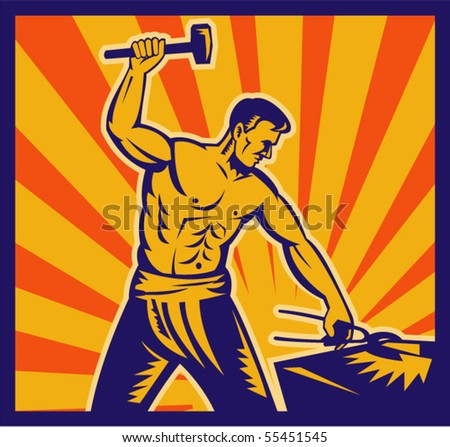 vector  illustration of a Blacksmith at work wielding a hammer with sunburst in background done in retro woodcut style.