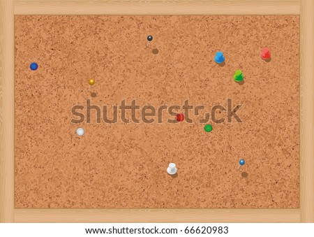 Vector illustration of a blank cork notice board with thumbtacks. All objects are isolated. Colors and transparent background color are easy to adjust. - stock vector