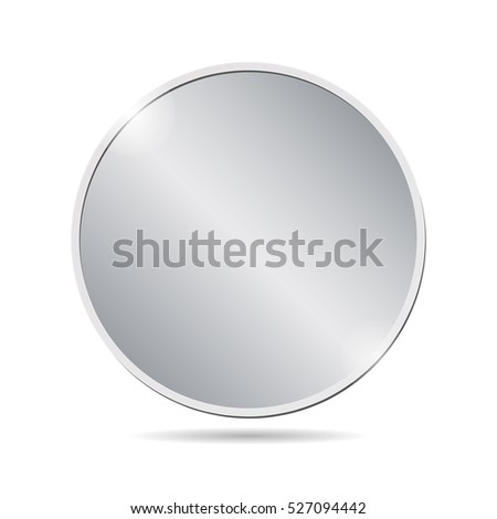 vector illustration of a blank silver coin on white background. EPS