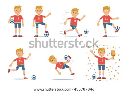 Vector illustration of a blonde football player showing different actions - stock vector