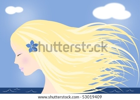 Vector illustration of a blonde girl with long hair and closed eyes by the sea