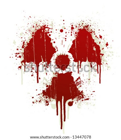 Vector illustration of a blood splatter design element in the shape of the radioactive symbol. Shadow on separate layer. - stock vector