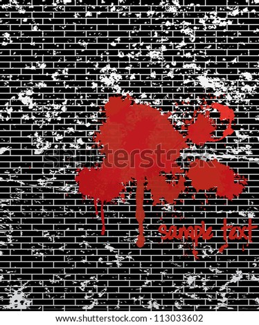 Vector illustration of a bloody brick wall.