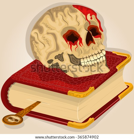 Vector illustration of a bloody human skull on a book. - stock vector