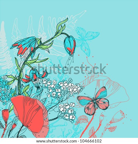 vector illustration of a blooming flowers and butterflies on a bright blue background - stock vector