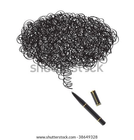 Vector - Illustration of a blot of ink drawing using a black pen forming a word bubble - stock vector