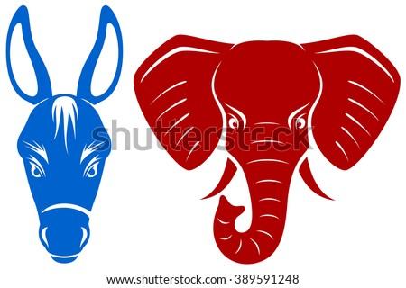 vector illustration blue democratic donkey red stock vector royalty
