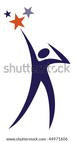 Vector illustration of a blue silhouetted man reaching for the stars