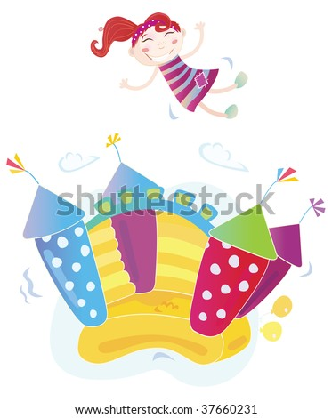 Vector Illustration of a bouncy castle with girl jumping on it. Easy to resize and change colors! - stock vector