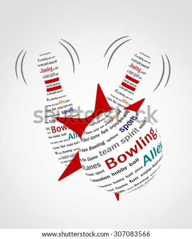 Vector illustration of a bowling icon made with text. - stock vector
