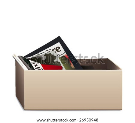 Vector Illustration of a Box with Magazines