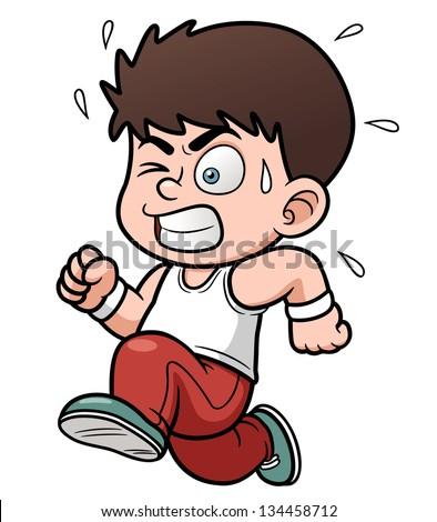 vector illustration of a boy running
