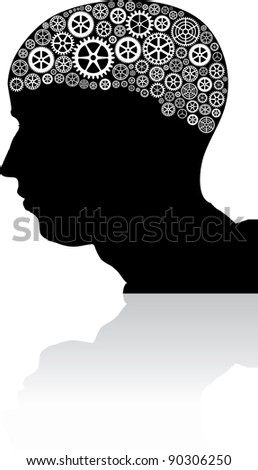 Vector illustration of a brain filled with wheels.