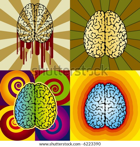 vector illustration of a brain patterns with different backgrounds - stock vector
