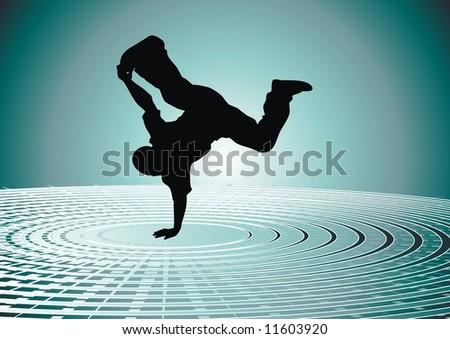 Vector illustration of a break-dancer. - stock vector