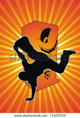 Vector illustration of a break-dancer and a speaker. - stock vector