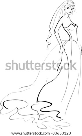 Vector Illustration of a Bride - stock vector