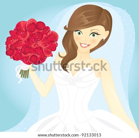 Vector illustration of a bride who is blushing and holding a big bouquet of red roses while wearing a white wedding dress and a shear veil on a blue background. - stock vector