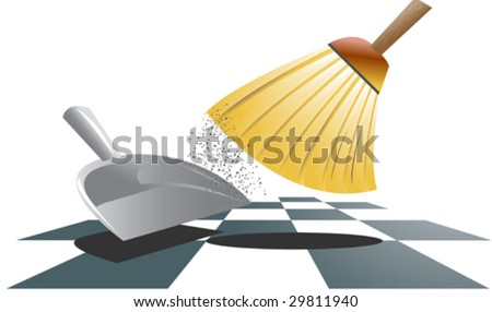 Vector illustration of a broom and a dustpan sweeping away dust. - stock vector