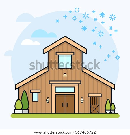 Vector illustration of a brown barn house. Eps 10. - stock vector