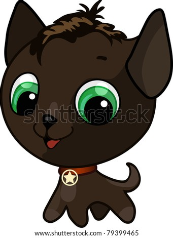 Vector illustration of a brown cute kitten with a medal on his neck - stock vector