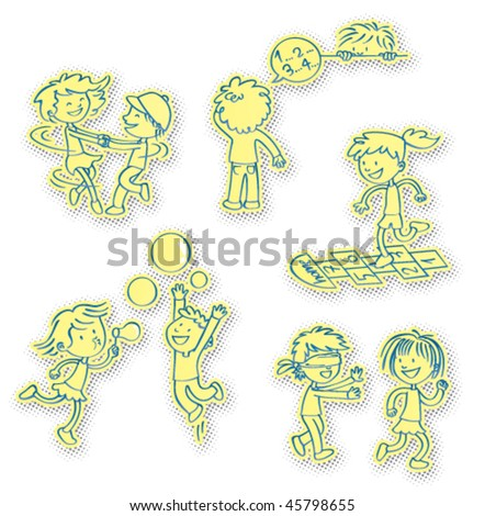 Vector illustration of a bunch of children playing outdoors games, away from the computer and video games. Daily doses recommended! - stock vector