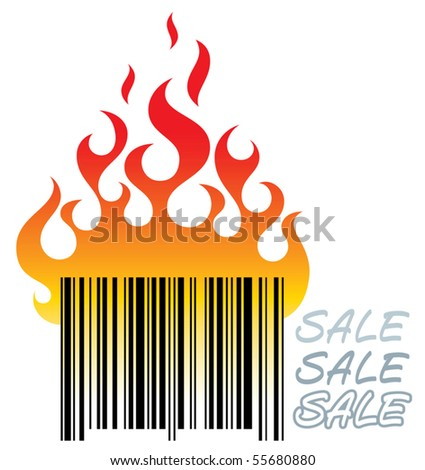 "Vector illustration of a burning bar-code as a sale symbol. ""Sale"" is handmade letters. - stock vector"