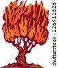 Vector illustration of a burning bush - stock photo