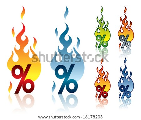 Vector illustration of a burning percent sign. - stock vector