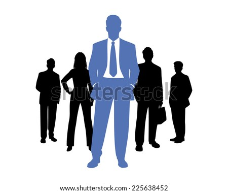 Vector illustration of a business team silhouettes - stock vector