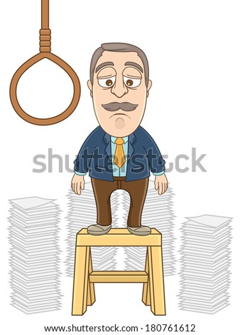 Vector Illustration of a businessman desperate going to suicide  - stock vector