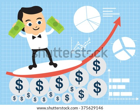 Vector illustration of a businessman flat character surfing on a statistic graph, holding money. - stock vector
