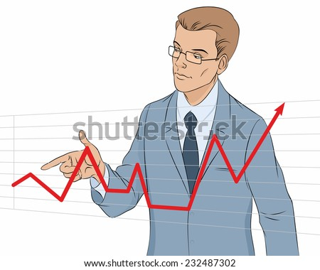 Vector illustration of a businessman making presentation with graph - stock vector