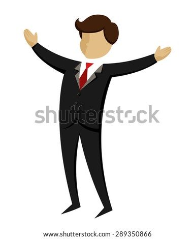 Vector illustration of a businessman open his arms wide - stock vector