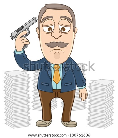 Vector Illustration of a businessman put a gun on his head  - stock vector