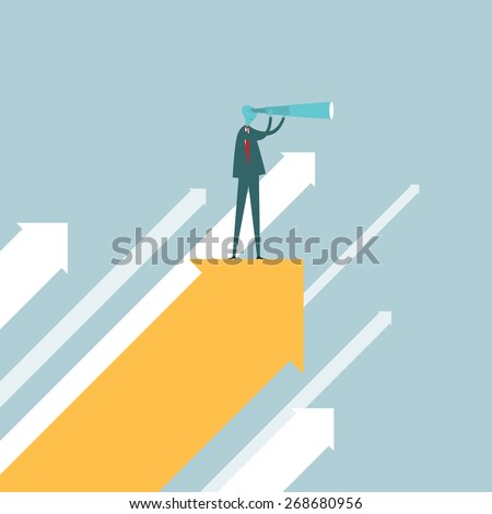 Vector illustration of a businessman with a spyglass on top of a rising arrow. - stock vector