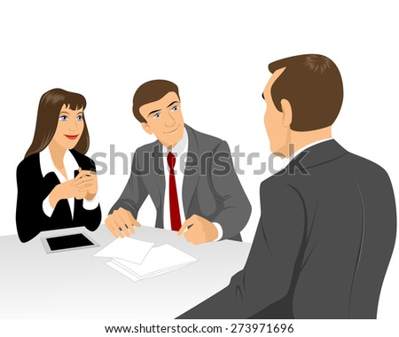Vector illustration of a businessmen at negotiating table - stock vector