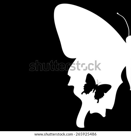 Vector illustration of a butterfly on a black background.