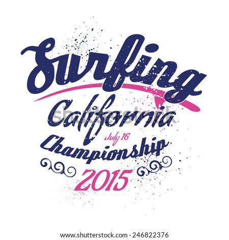 vector illustration of a California surfing design for t-shirts, - stock vector