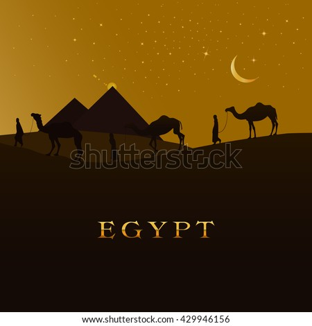 Vector Illustration Of A Camel Caravan Walking Across A egypt Desert. Egyptian Pyramid Silhouettes Banner. Egypt In The Lettering. Beautiful starry sky above Giza. - stock vector