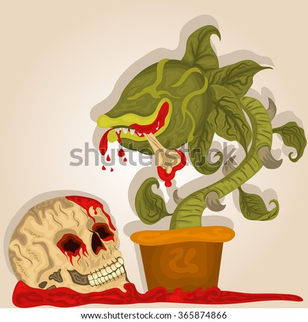 Vector illustration of a carnivorous plant and a bloody human skull. - stock vector