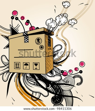 vector illustration of a carton box with secret content - stock vector
