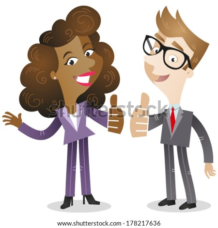 Vector illustration of a cartoon business man and woman both giving the thumbs up. - stock vector
