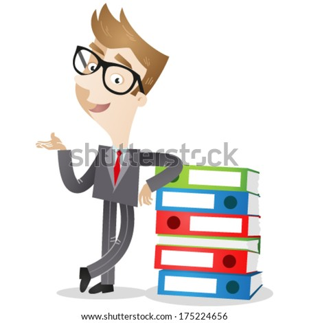 Vector illustration of a cartoon businessman leaning against a stack of binders with explaining gesture (JPEG also available). - stock vector