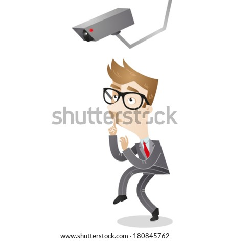 Vector illustration of a cartoon businessman tiptoeing under a surveillance camera. - stock vector