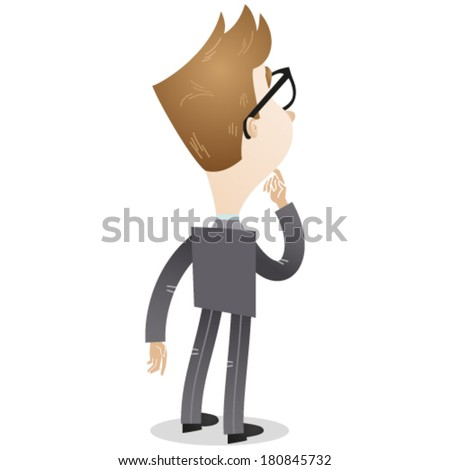 Vector illustration of a cartoon businessman viewed from rear, pondering with finger on his chin. - stock vector