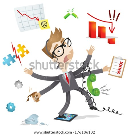 Vector illustration of a cartoon businessman with several arms failing to multitask / trying to do multiple office tasks at once (JPEG version also available in my gallery).  - stock vector